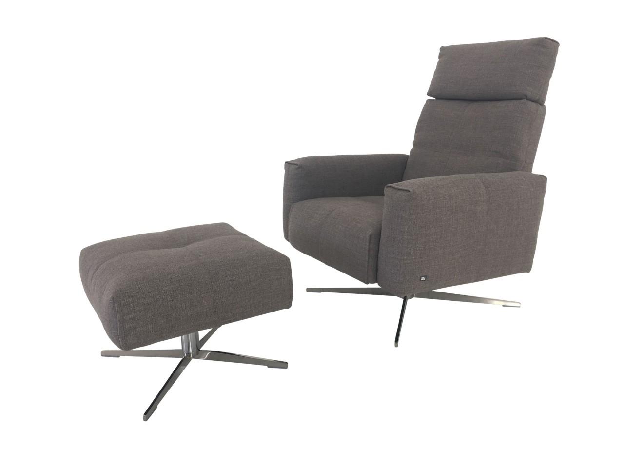 Rolf Benz RB 50 Sessel mit Wippfunktion und Hocker im Stoff quarzgrau