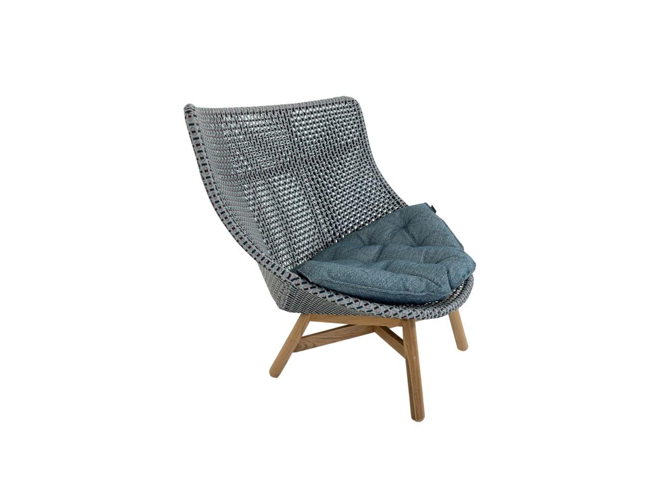 Dedon MBRACE WING CHAIR Hochlehner Sessel in baltic mit Sitzkissen in topaz blue