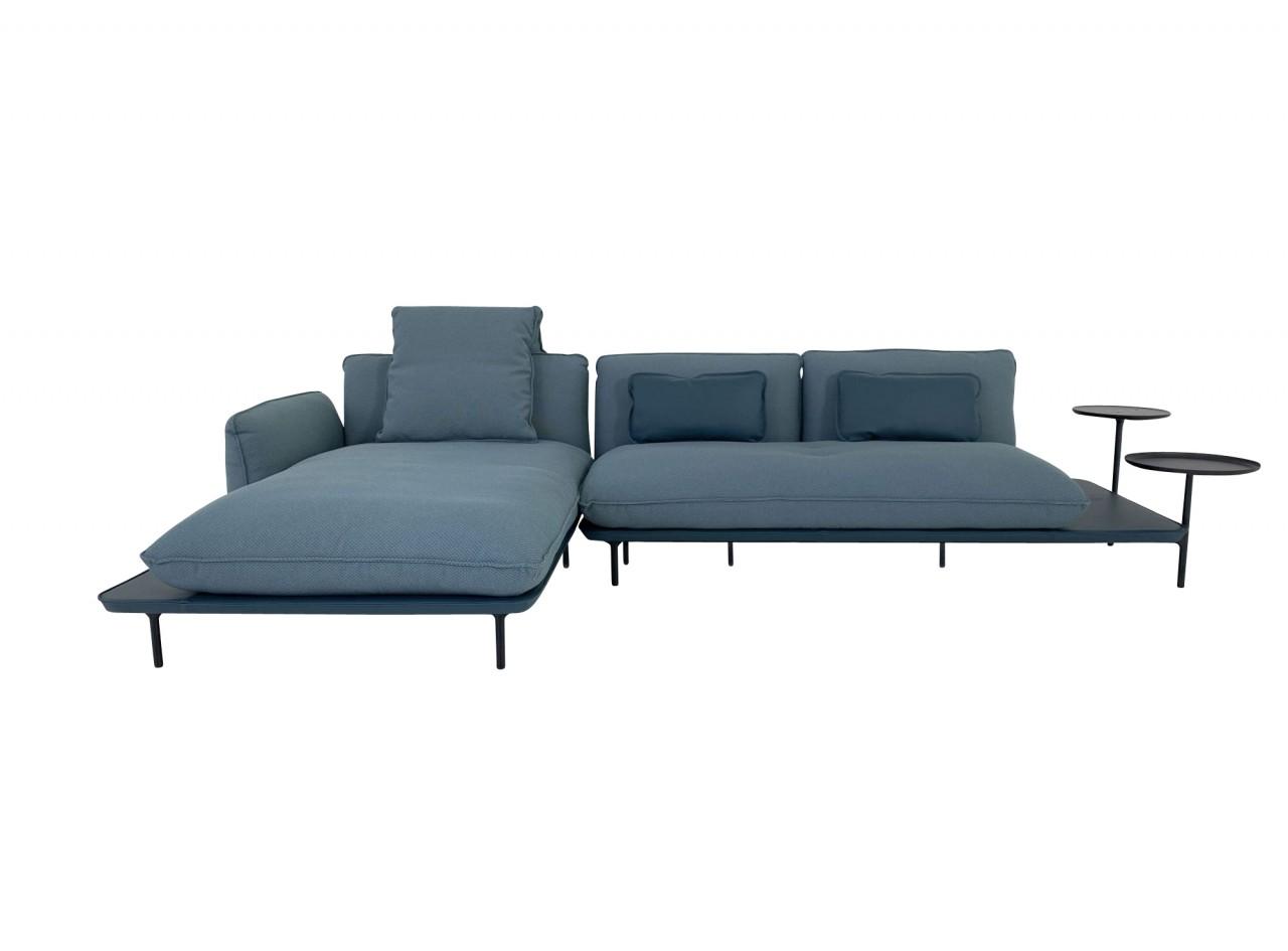 Rolf Benz ADDIT Sofa mit Longchair links in Stoff blaugrün mit Rahmen im Leder ozeanblau