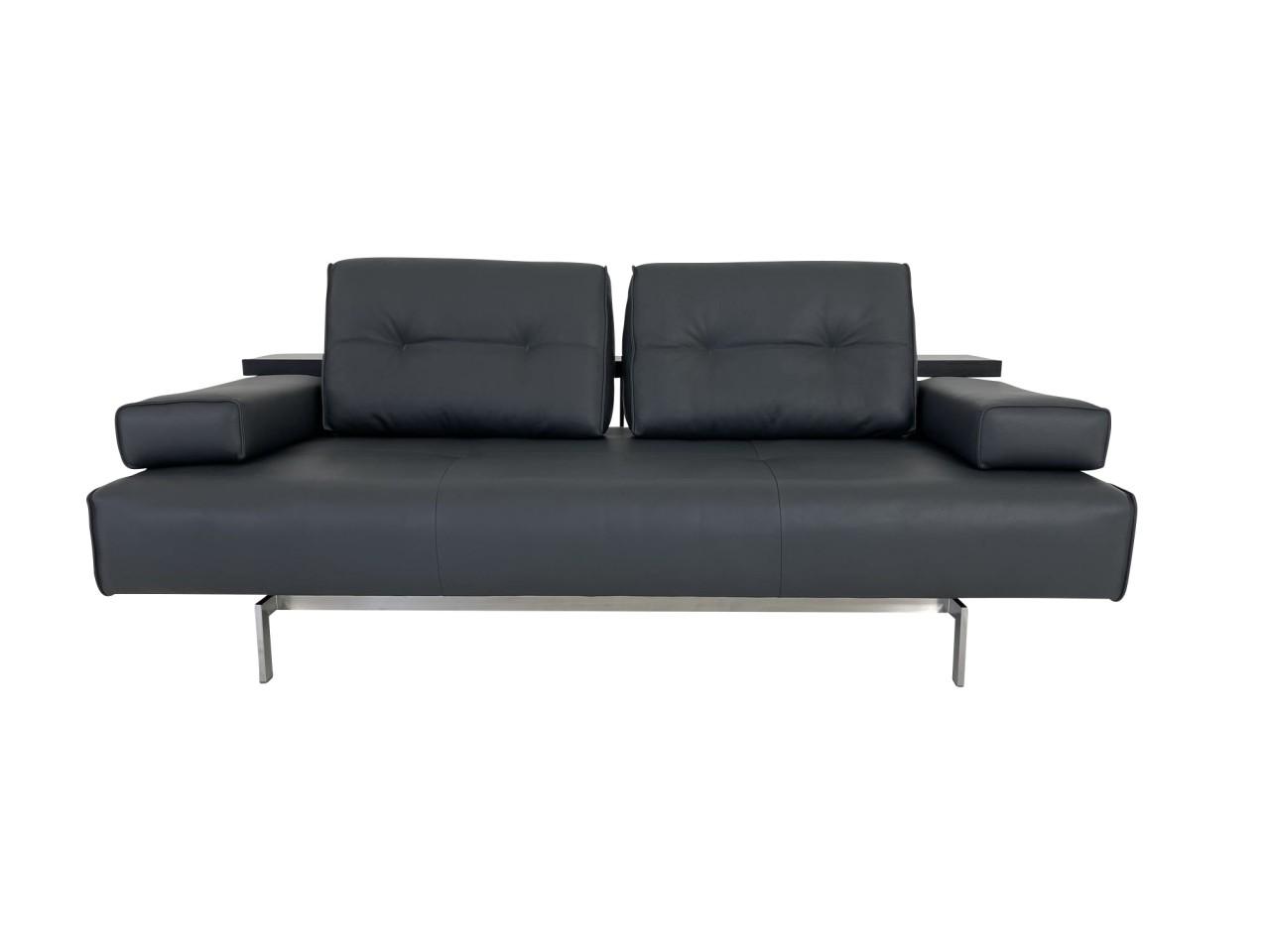 Rolf Benz DONO Lounge 6200 Sofa mit Sitzvorzug in Leder dunkel schwarzgrau und Reling Eiche schwarz