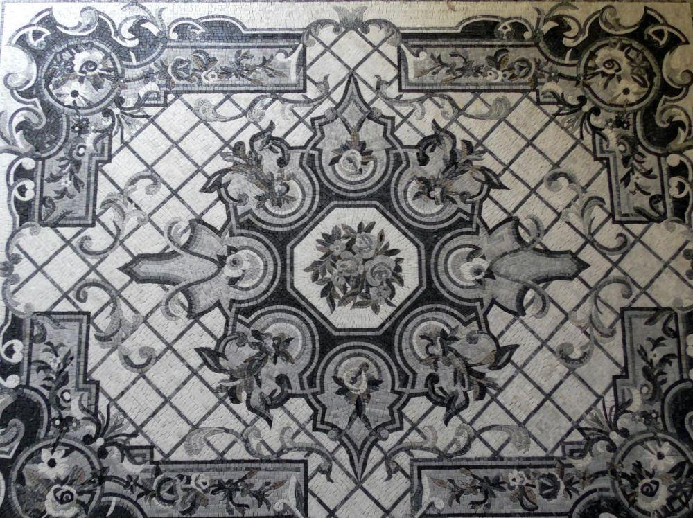 izabela K. Designer Marmor Mosaik Teppich poliert in offwhite und graubraunen Farbtönen 219,5 x 174,