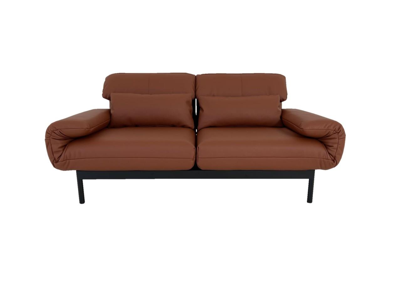 ROLF BENZ PLURA Sofa in Leder kupferbraun mit Liegerücken und Gestell schwarz im Sonderangebot