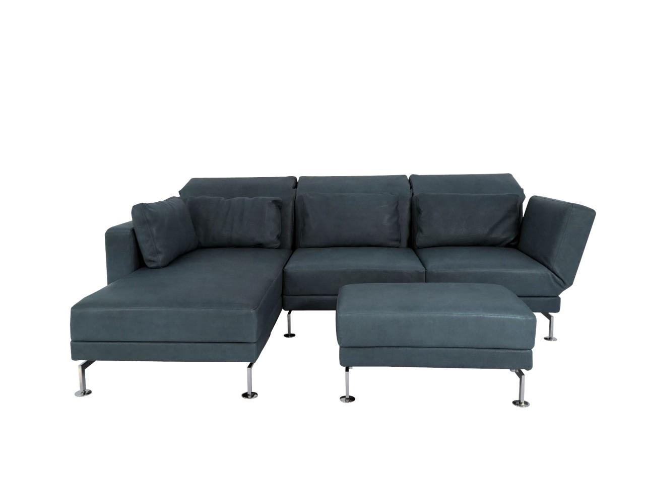 Brühl MOULE medium Sofa mit Recamiere links und Hocker in Naturleder OLIVA grau mit Chromkufen-
