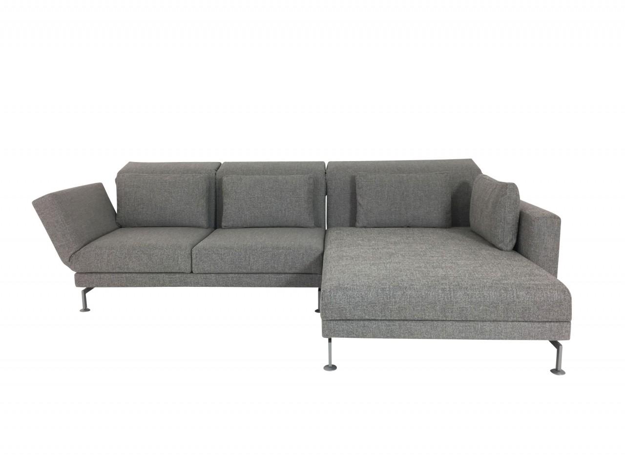 Brühl MOULE MEDIUM Sofa mit XL Recamiere in Stoff hellgrau