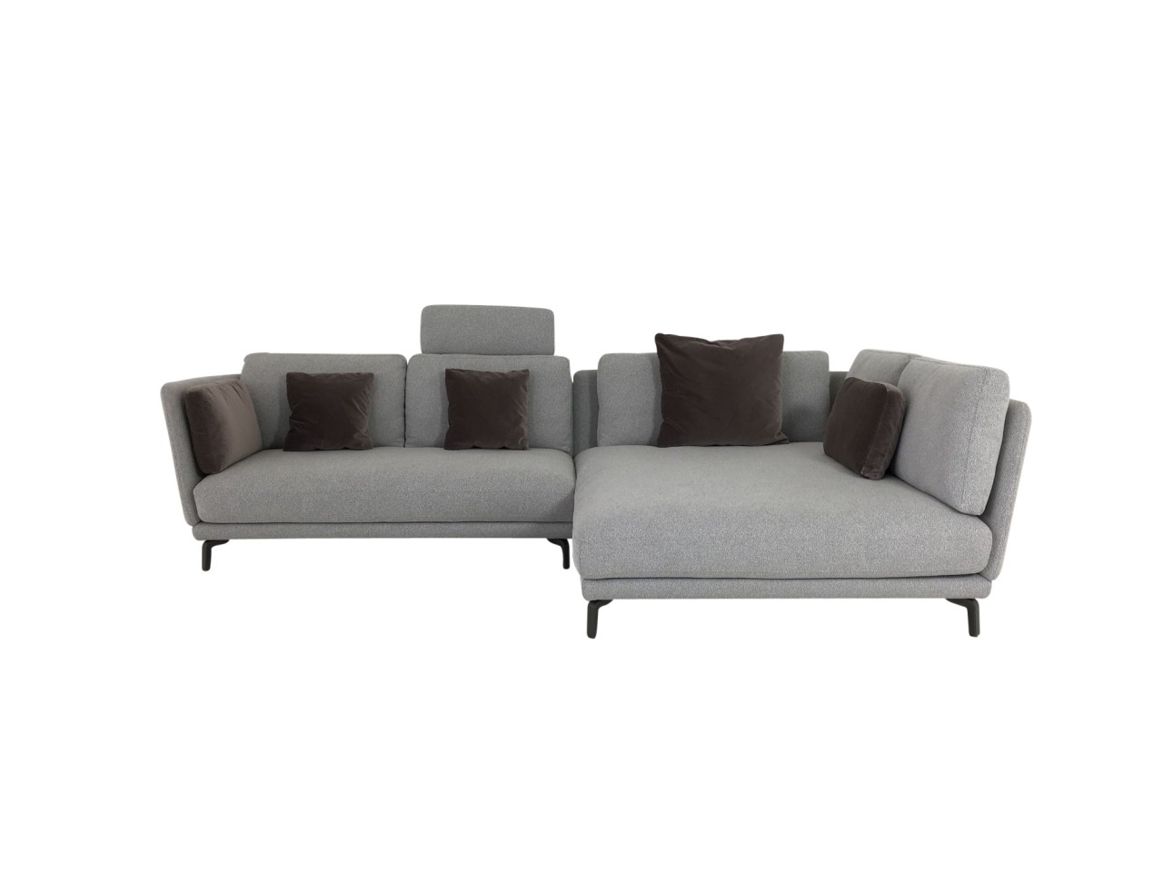 rolf benz rondo sofa mit xl recamiere in stoff grau lounge. Black Bedroom Furniture Sets. Home Design Ideas