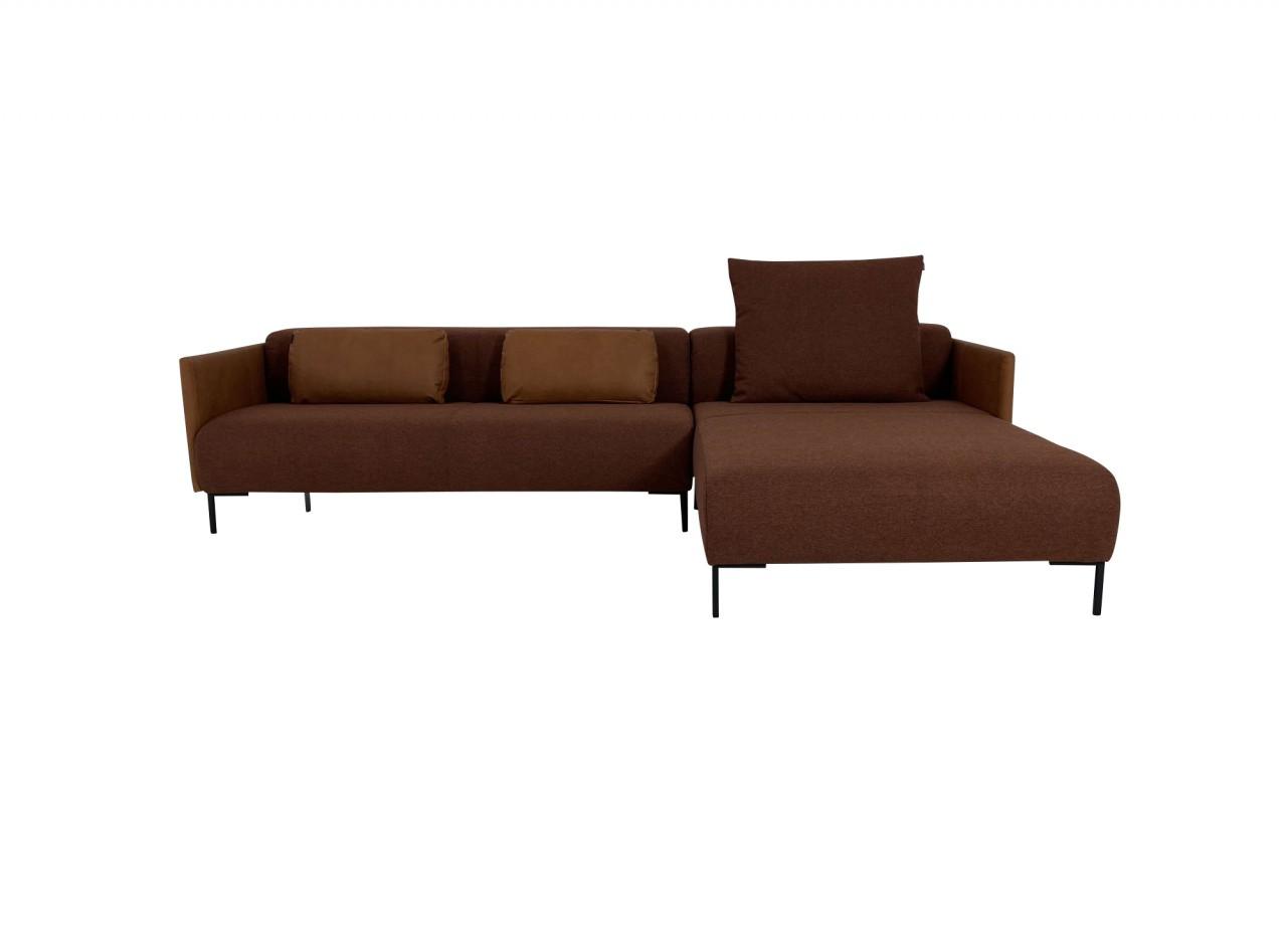 freistil 131 ROLF BENZ Sofa mit Recamiere rechts Mix & Match Stoff kupferbraun und Leder ockerbraun