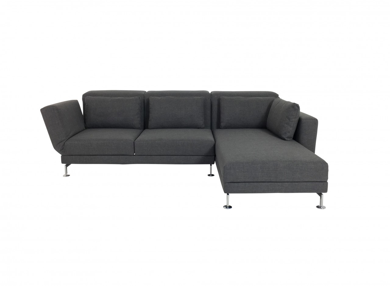 Brühl MOULE medium Sofa mit Recamiere in Stoff grau mit Kissen