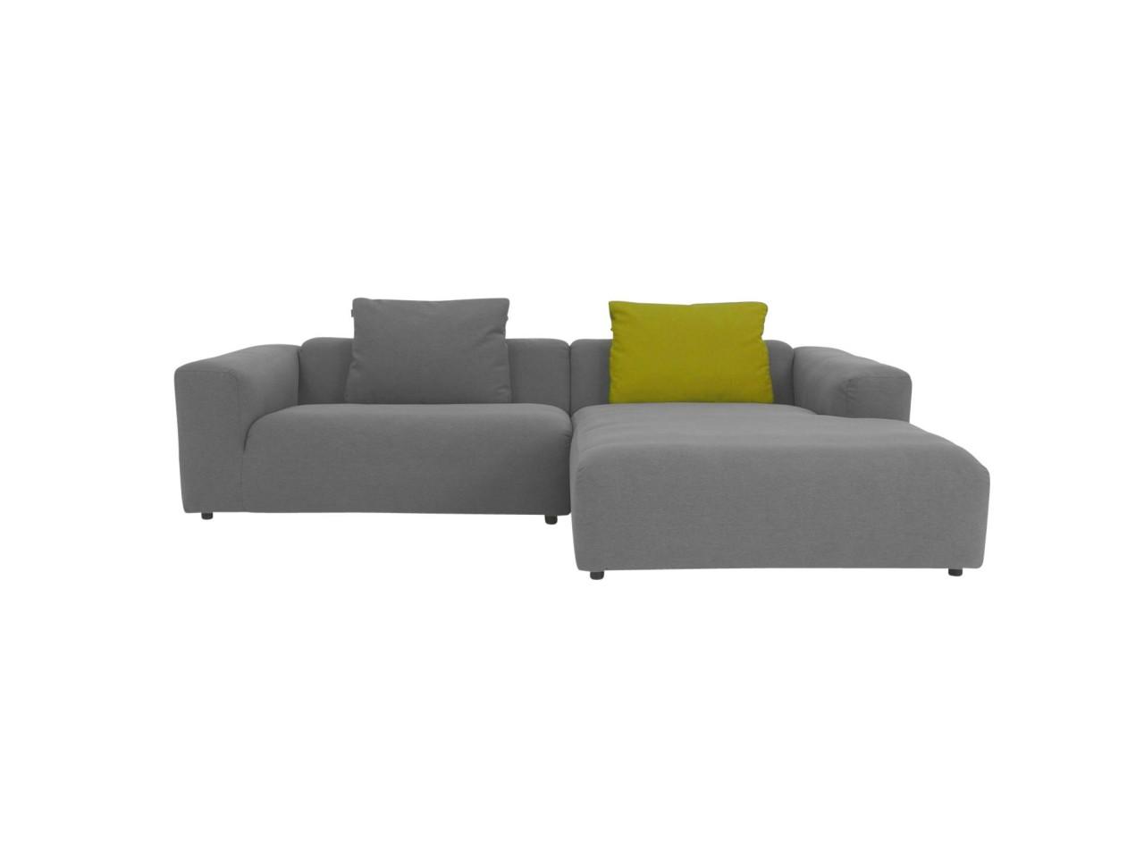 freistil 187 ROLF BENZ das absolute Lounge Sofa in grauem feinen Stoffbezug mit Longchair rechts