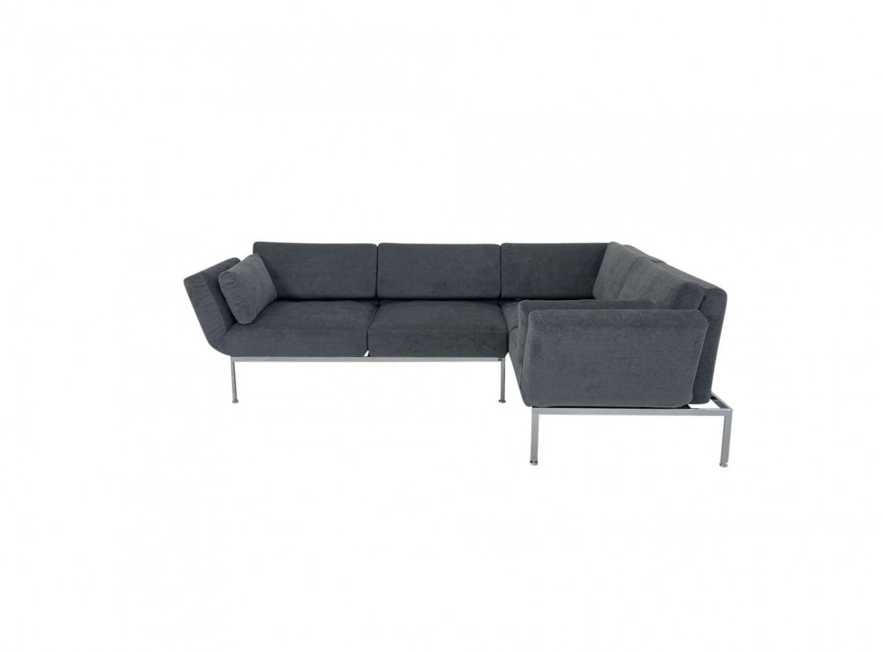 Brühl RORO/20 soft Ecksofa rechts mit weichen Sitzkomfort und zwei Drehsitzen in Stoff dunkelgrau