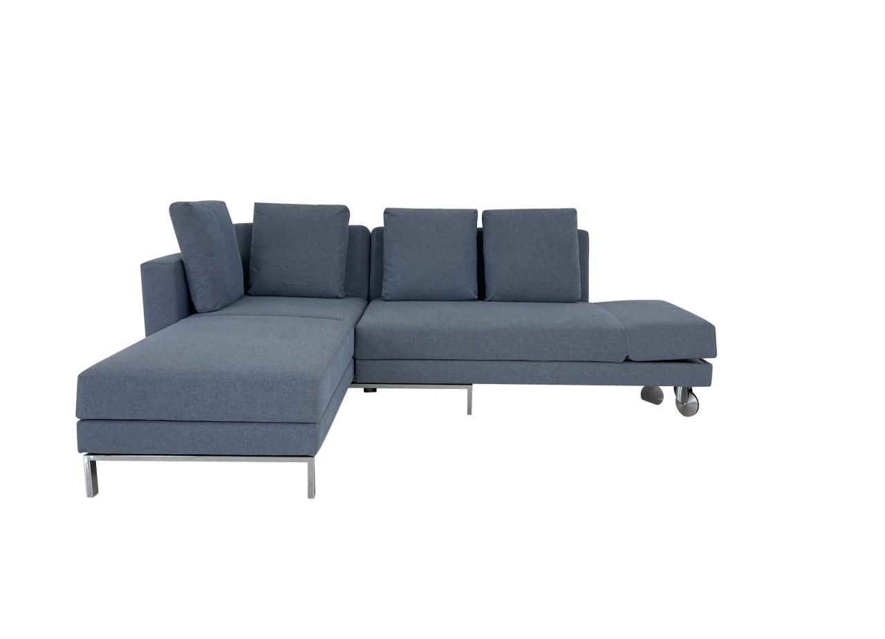 Brühl FOUR-TWO Sofa mit Recamiere sowie Drehsofa mit Bettfunktion in Stoff blaugrau mit Kissen