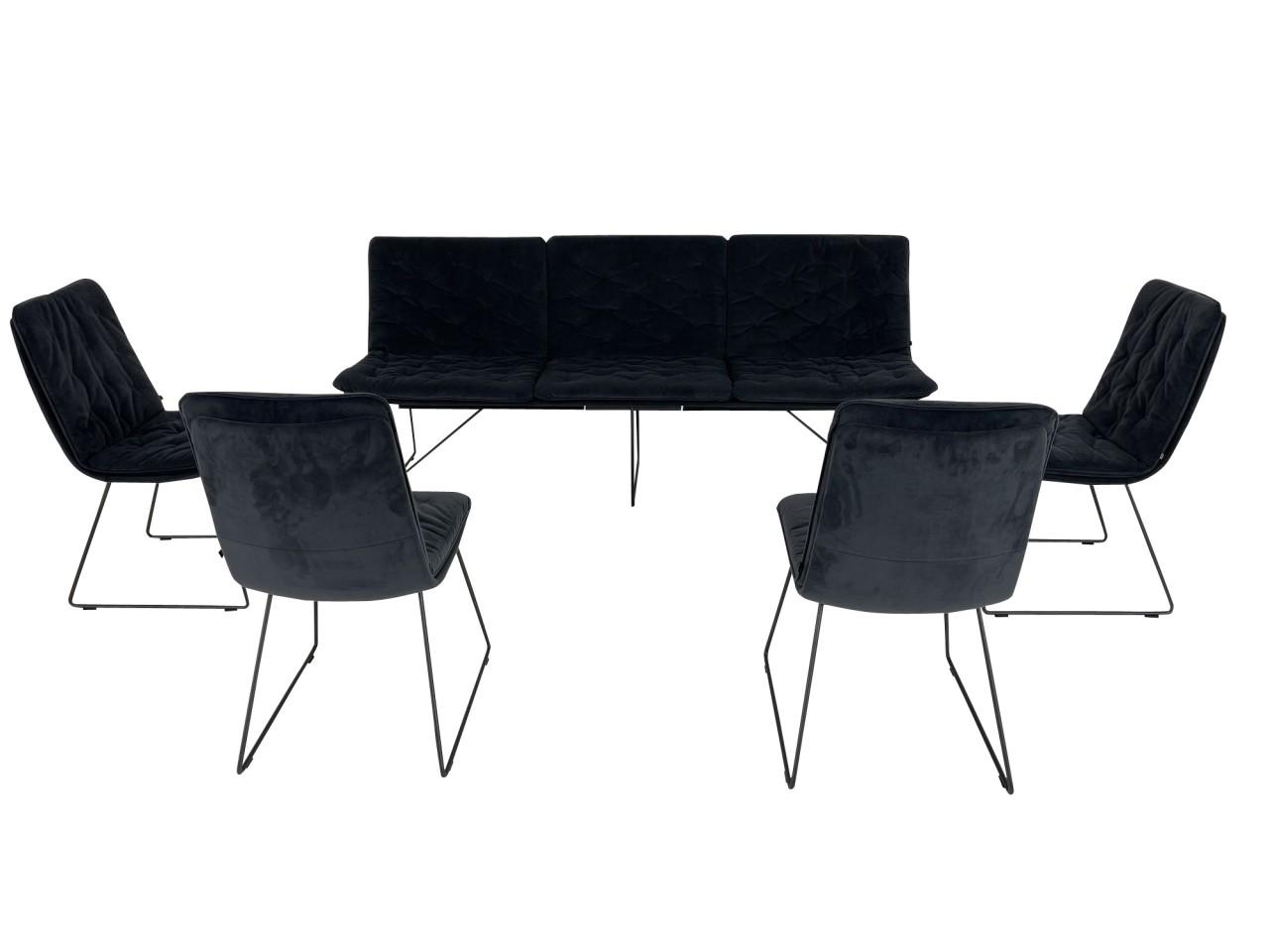 KFF ARVA STITCH EDITION Sitzbank und Stühle mit Steppung in Velours Samt anthrazit mit Kufen