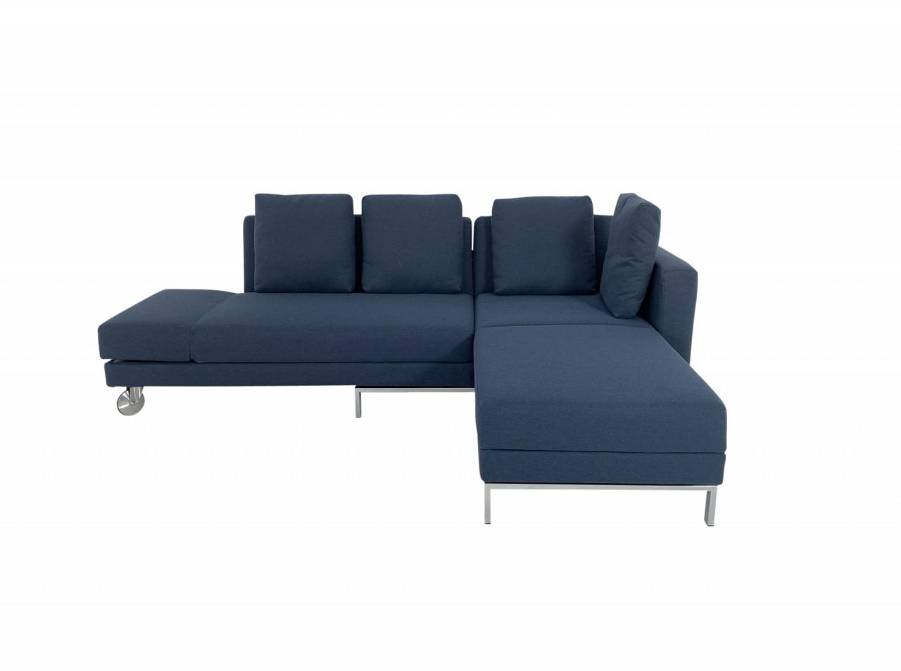Brühl FOUR-TWO Ecksofa mit Recamiere rechts und Bettfunktion im edlen Stoff 4455-65 dunkelblau