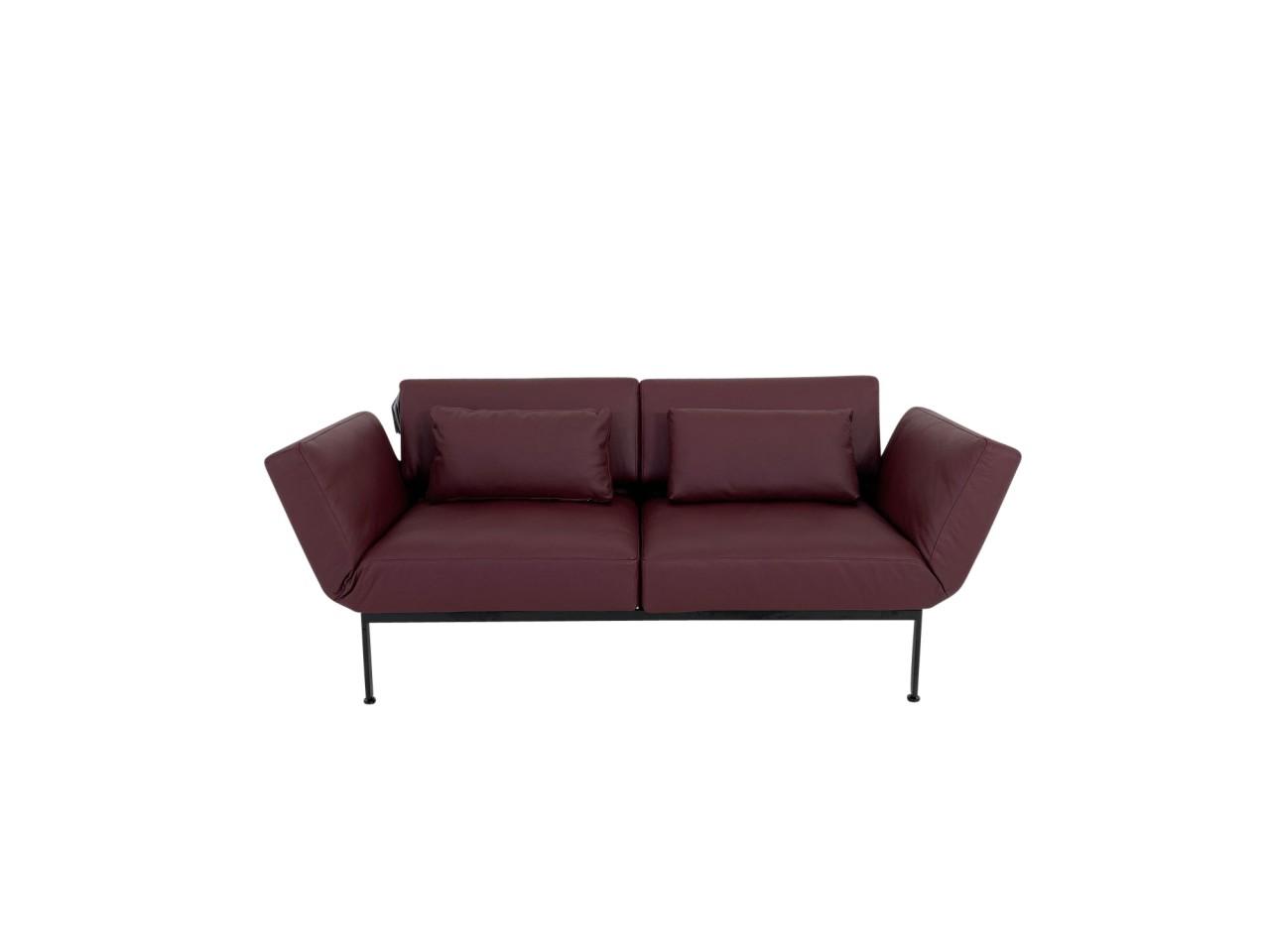 Brühl RORO/20 soft Sofa 2 mit weichen Sitzen im Jumbo Leder bordeaux Gestell schwarz mit Rollen