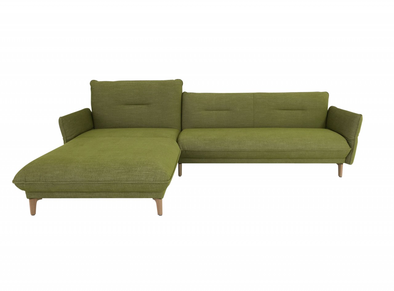 Hülsta Sofa hs.430 mit Recamiere in Stoff farngrün mit Holzfüssen und abklappbaren Seitenteilen