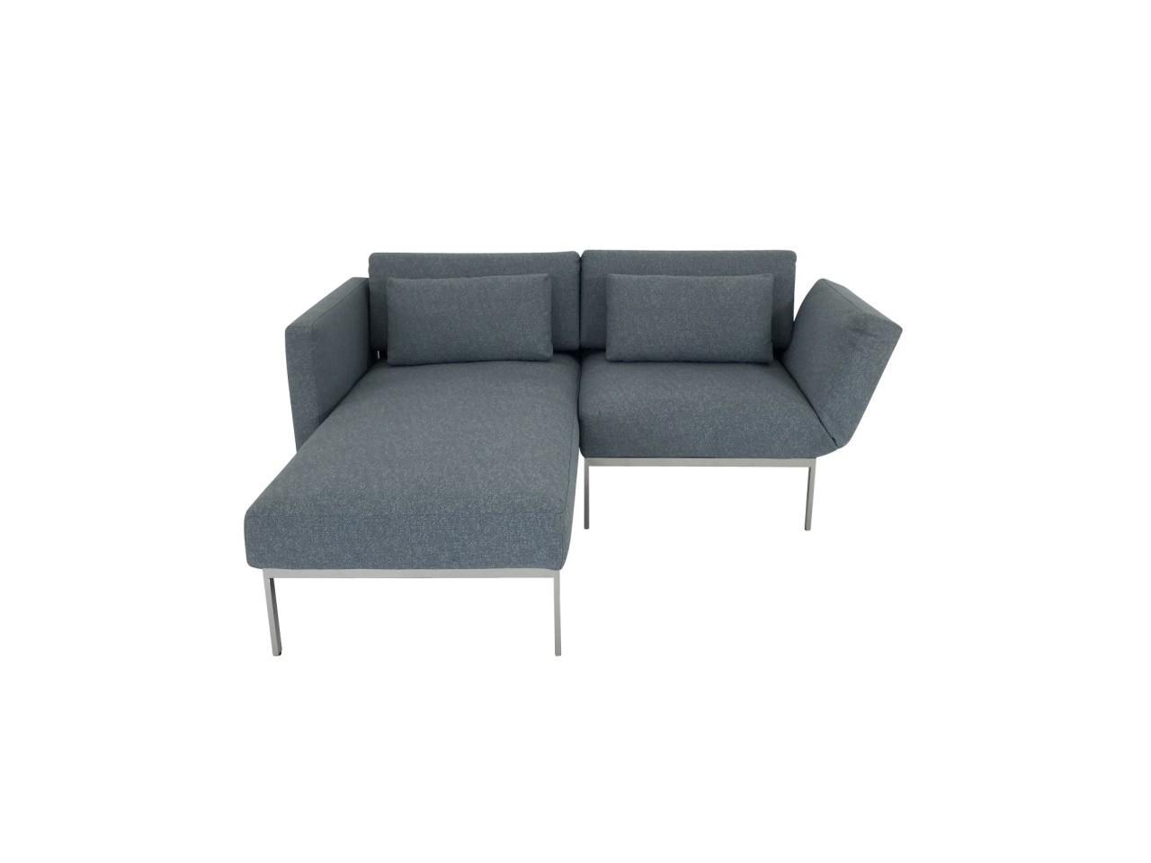 Brühl RORO/20 soft Sofa mit Recamiere weichen Sitzen Gestell verchromt und Drehsitz Stoff graublau