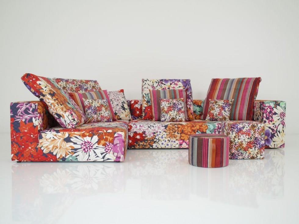 MISSONI HOME NAP Lounge Garnitur mit Kissen und Hocker