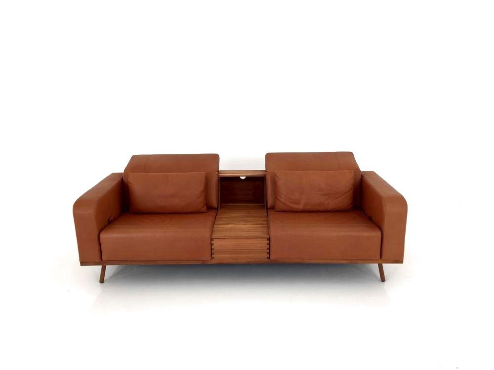 BRÜHL DEEP SPACE Sofa mit Tischcontainer in Pearl Leder