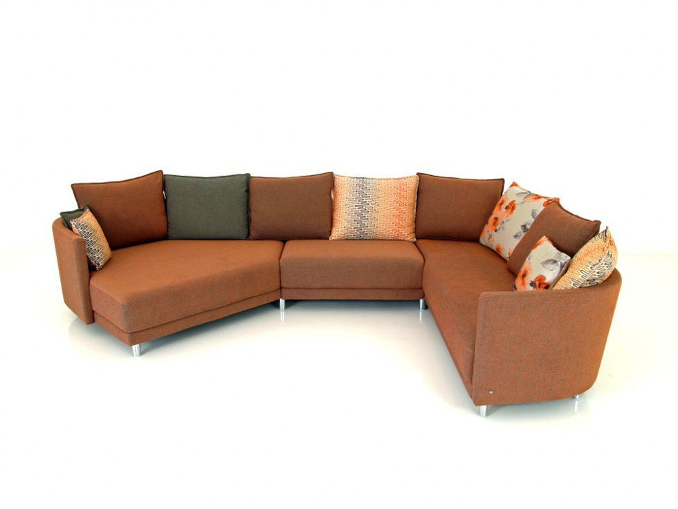 ROLF BENZ ONDA Lounge Garnitur in Stoff beige-orange meliert