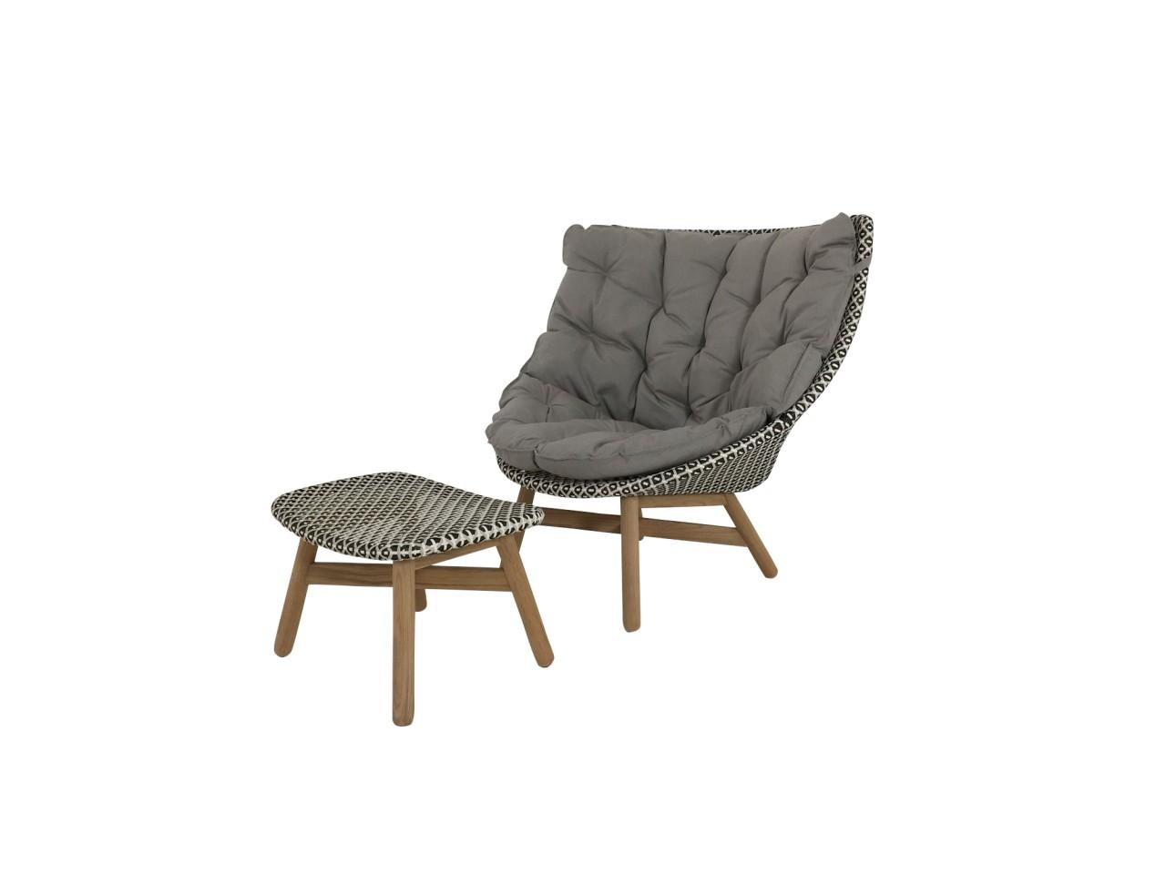 DEDON MBRACE WING CHAIR Hochlehner Sessel mit Hocker in der Farbe pepper mit Polsterauflage