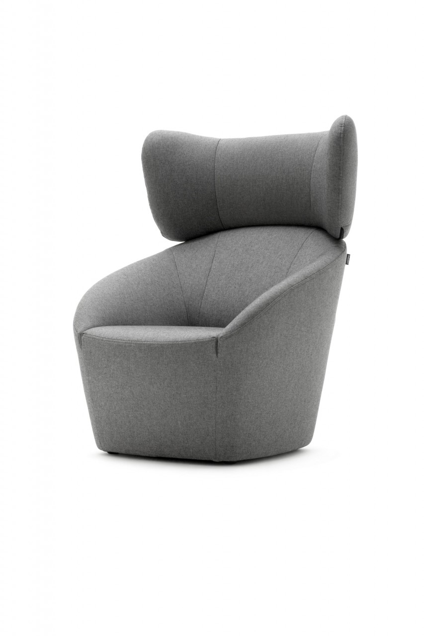 Freistil 178 ROLF BENZ Hochlehn-Sessel in grauen Stoff