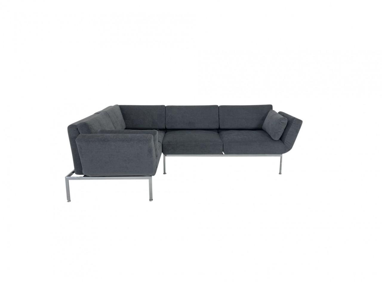 Brühl RORO/20 soft Ecksofa links mit weichen Sitzkomfort und zwei Drehsitzen in Stoff dunkelgrau
