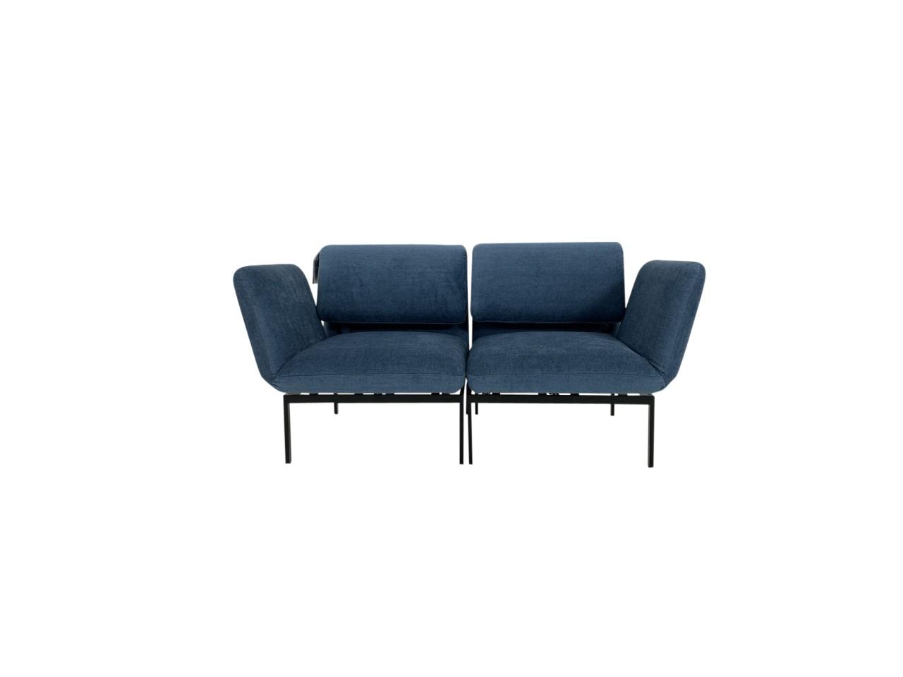 Brühl RORO small Liege Sessel Set im edlen Stoff petrolblau mit Gestell schwarz