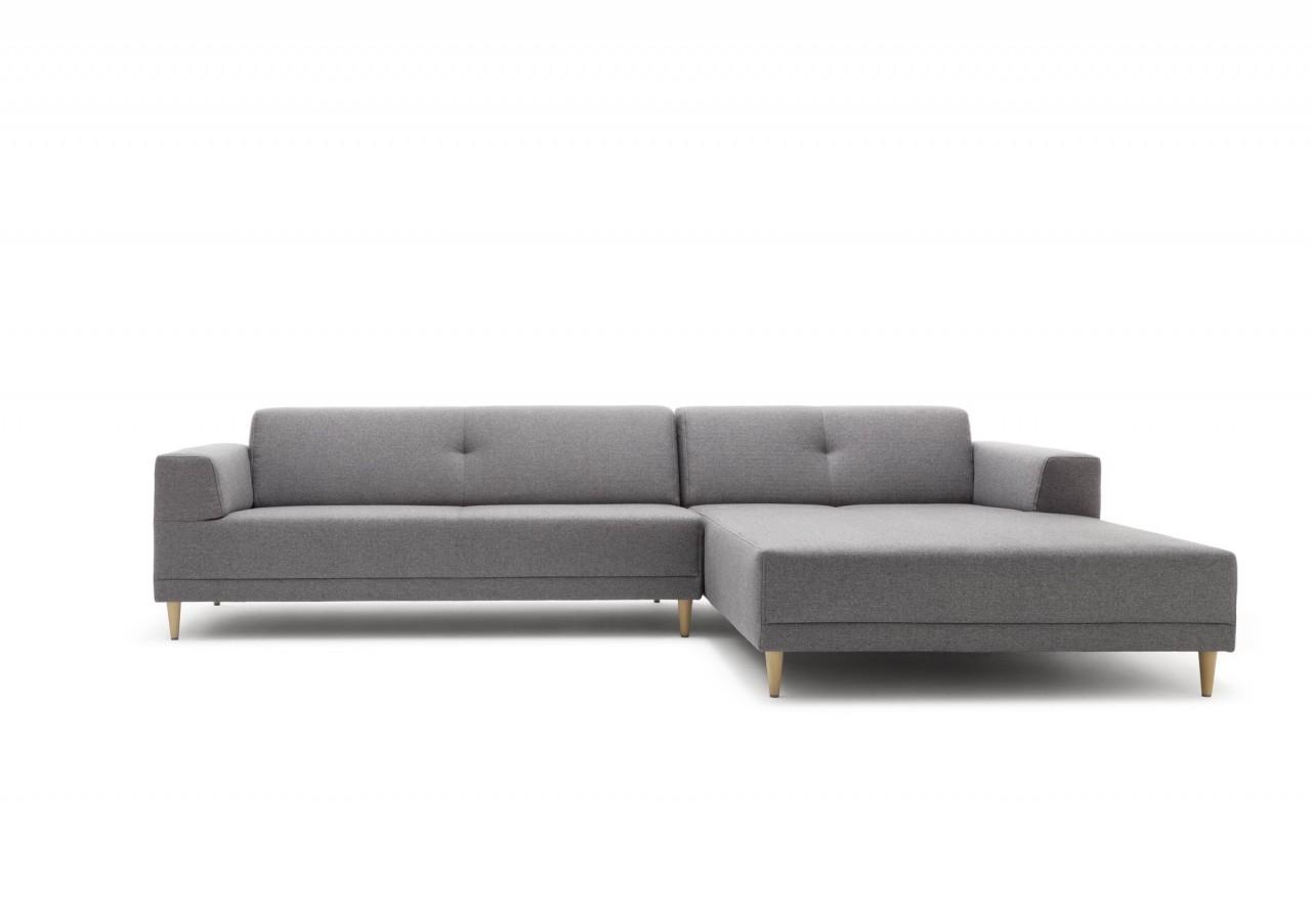 Freistil 189 Rolf Benz Sofa Mit Recamiere In Stoff Blaugrau