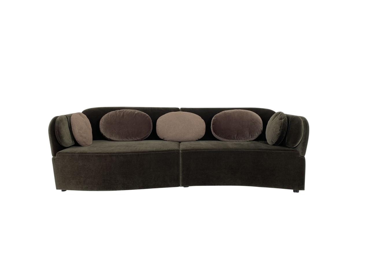 Brühl FLORET GLORY Sofa in samtigen Velour Stoff braun mit einzigartigen Verwandlungsfunktionen