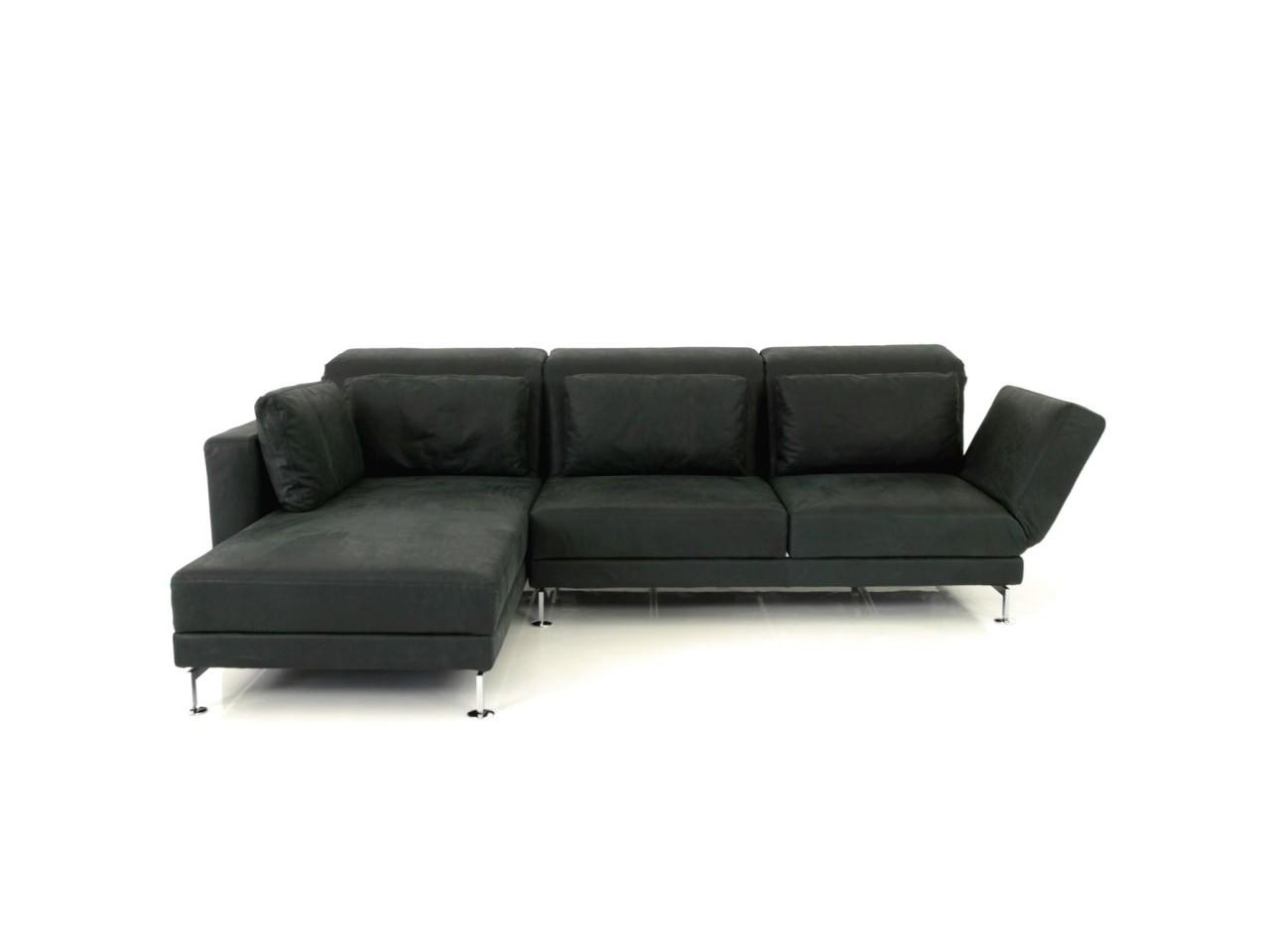 Brühl MOULE MEDIUM Sofa mit Recamiere links im schwarzen Leder GLOVE