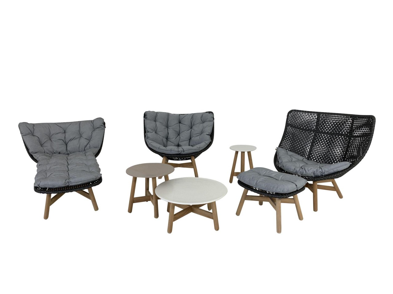 DEDON MBRACE ROCKING CHAIR, WING CHAIR mit DAYBED in arabica als SET
