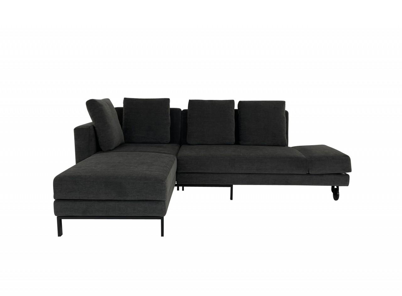 Brühl FOUR-TWO Sofa mit Recamiere sowie Drehsofa mit Bettfunktion in Stoff anthrazit