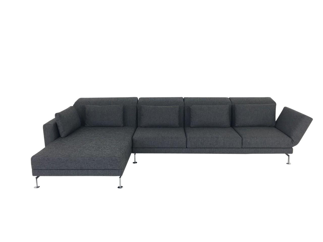 Brühl MOULE MEDIUM Sofa 3 mit XL Recamiere in Stoff anthrazit und Drehsitz rechts