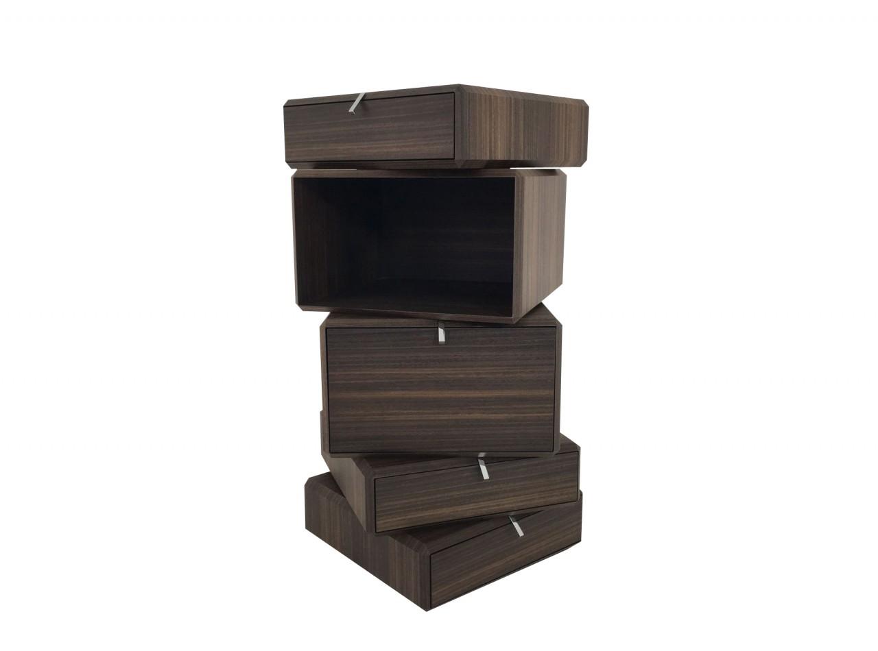 Molteni & C. TEOREMA Beistellmöbel in Holz Eukalyptus mit Schubladen und Behältnissen