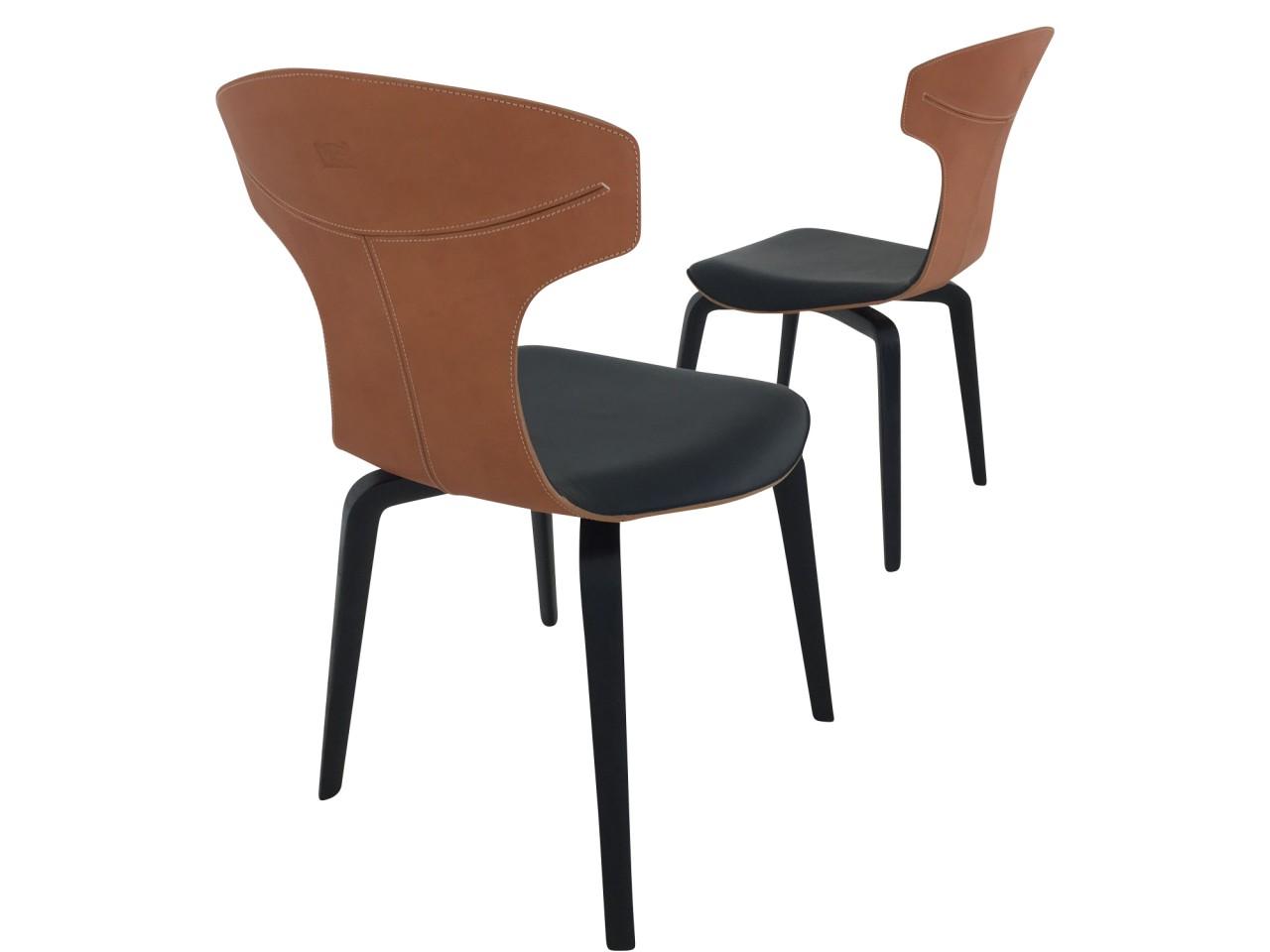 Poltrona Frau MONTERA 2 Stühle im saddle extra Kernleder camello und Leder SC africa nero