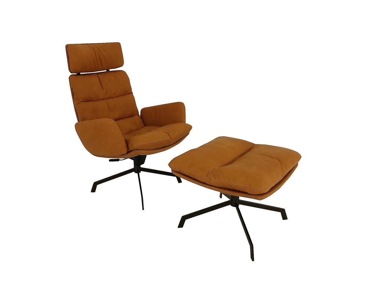 KFF ARVA LOUNGE Sessel in Leder Silk cognac mit Wipp-Funktion und Hocker
