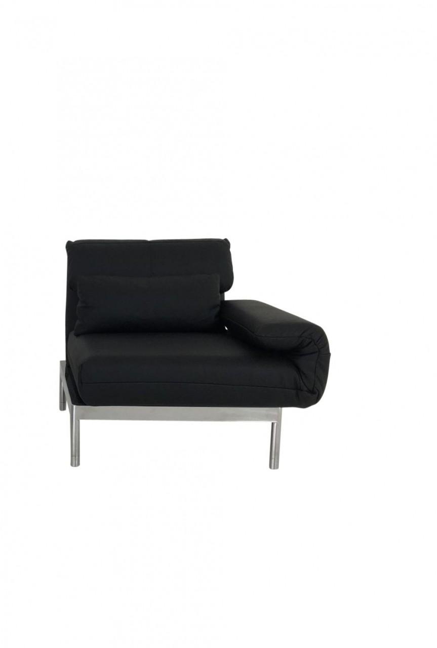 ROLF BENZ PLURA LC rechts Longchair in schwarzen Leder mit Chromgestell und Nierenkissen