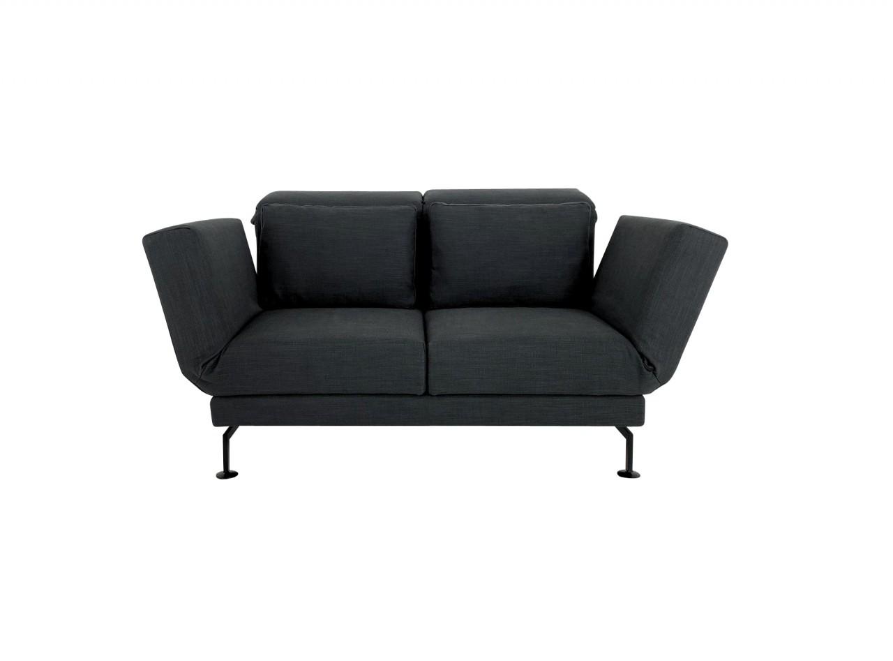 Brühl MOULE SMALL Sofa 2 mit Drehsitzen in Stoff anthrazit mit Gestell schwarz mit Rollen hinten