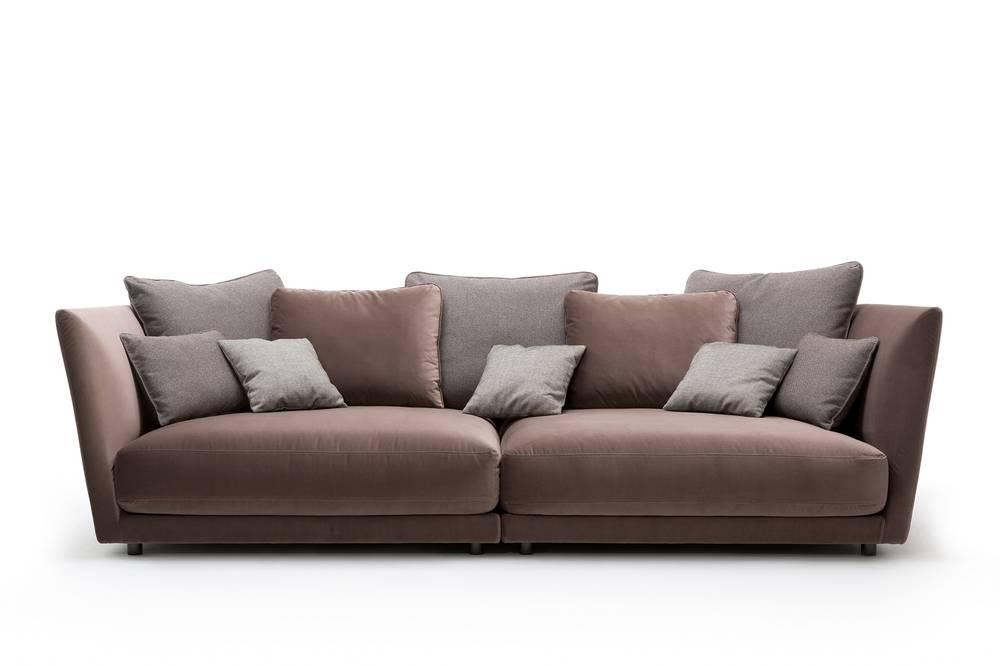 rolf benz tondo sofa de luxe im samtigen velourstoff taupe rolf benz polsterm bel rolf benz