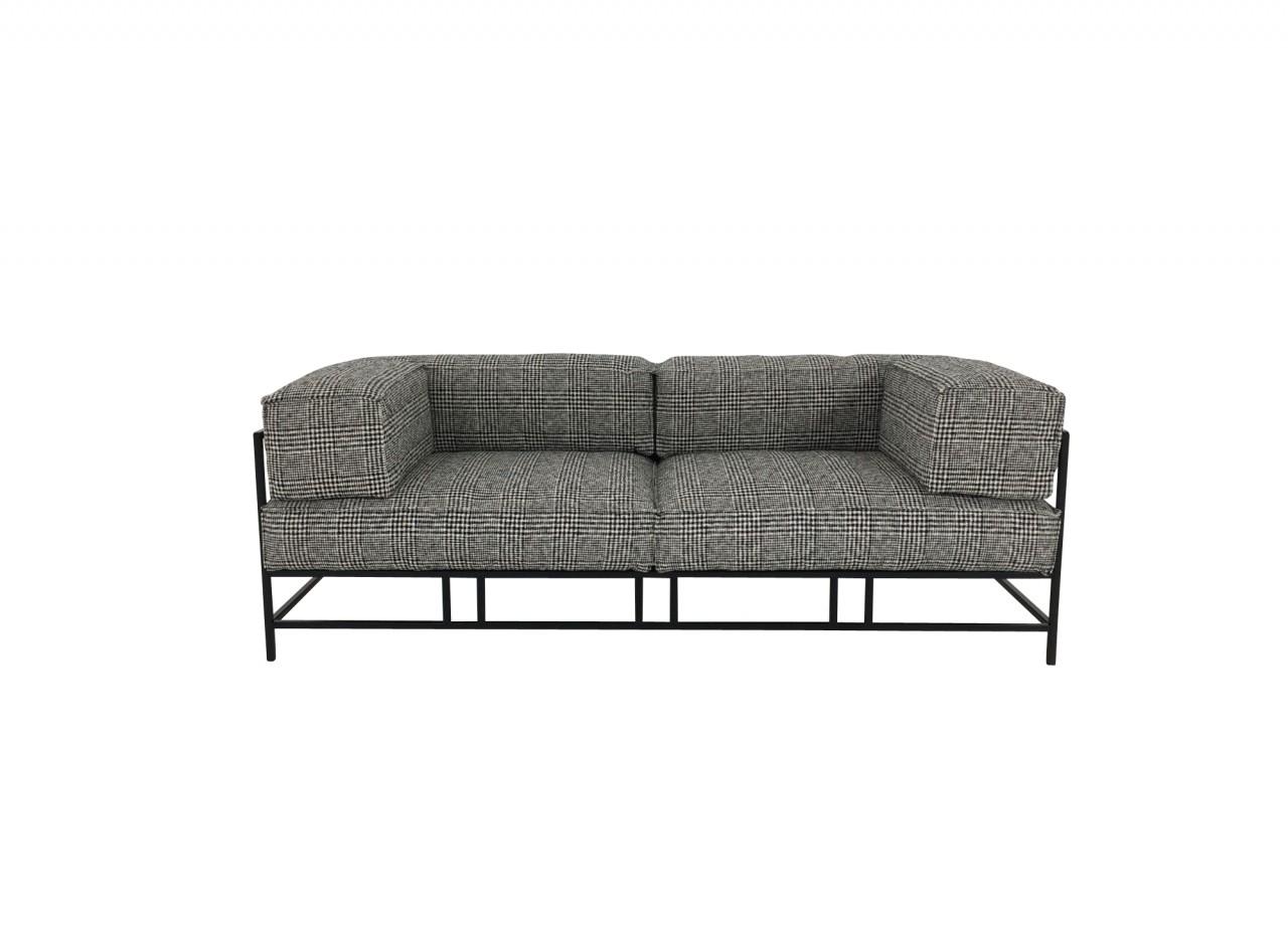 Brühl EASY PIECES METAL Sofa 3 im edlen Glencheck Stoff mit weicher Polsterung