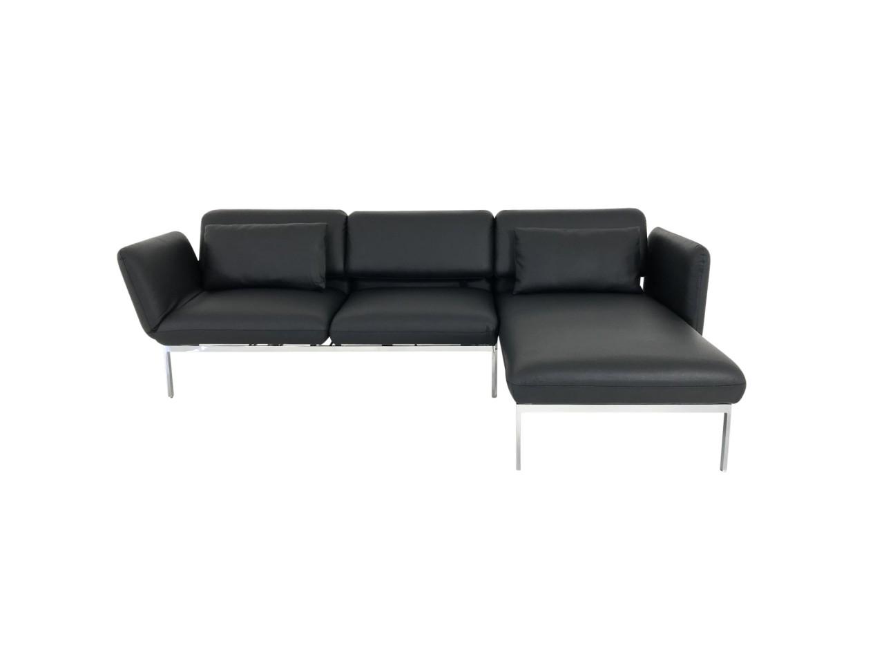 Brühl RORO medium Sofa mit Recamiere in Leder Unit schwarz mit Gestell mattchrom