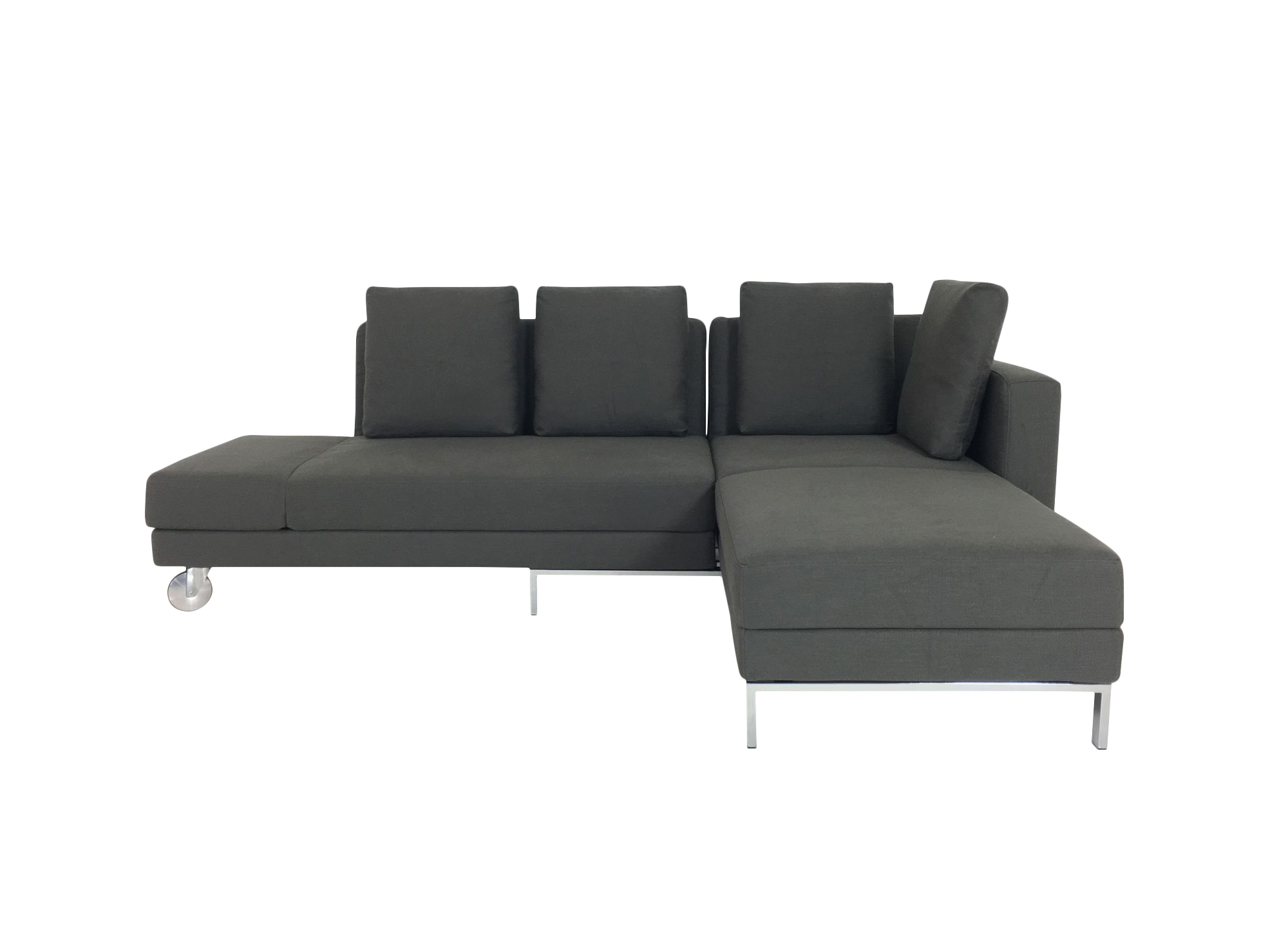 br hl four two sofa mit recamiere und bettfunktion in stoff dunkelgrau br hl schlafsofas. Black Bedroom Furniture Sets. Home Design Ideas