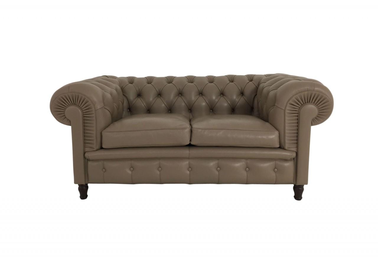 Poltrona Frau CHESTER Sofa 2sitzig im Leder Nest Farbe Arenaria