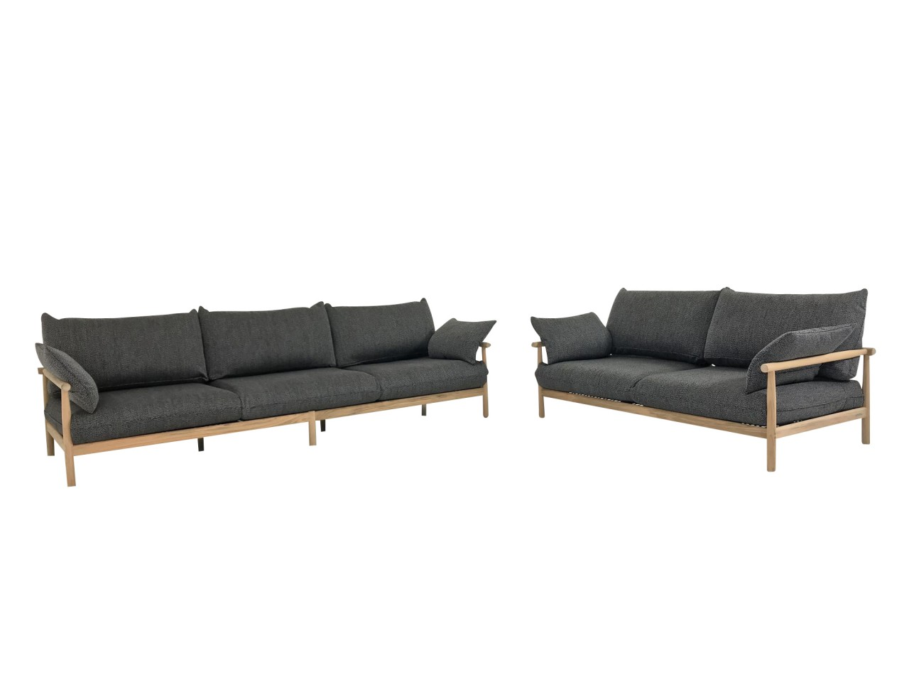 dedon tibbo sofa 3 und sofa 2 f r garten und terrasse in teak mit sitzkissen in stoff twello. Black Bedroom Furniture Sets. Home Design Ideas