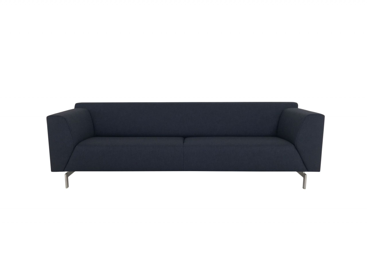 rolf benz linea sofa in stoff dunkelblau mit fu spangen in edelstahl rolf benz polsterm bel. Black Bedroom Furniture Sets. Home Design Ideas