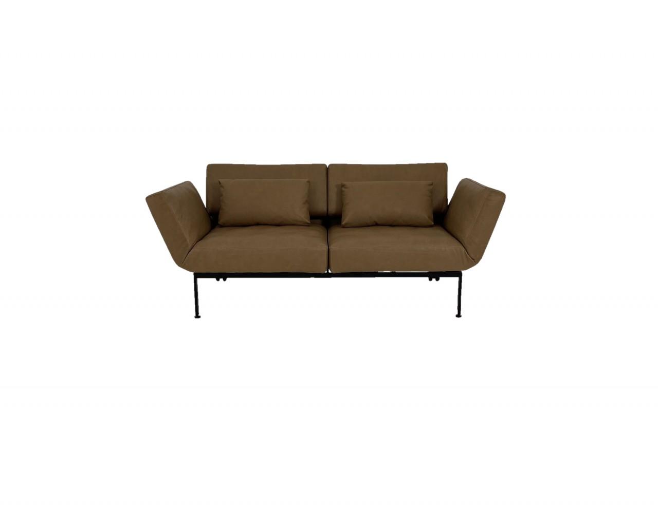 Brühl RORO/20 soft Sofa 2 mit weichen Sitzen in Leder Lama cognac mit Gestell schwarz mit Rollen hin