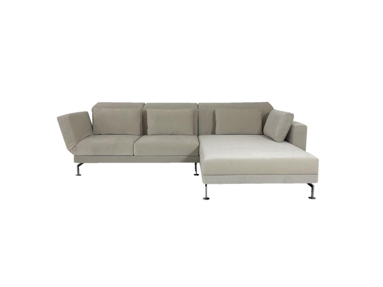 Brühl MOULE MEDIUM Sofa mit XL Recamiere rechts im robusten offwhite Velour Stoff mit Drehsitz