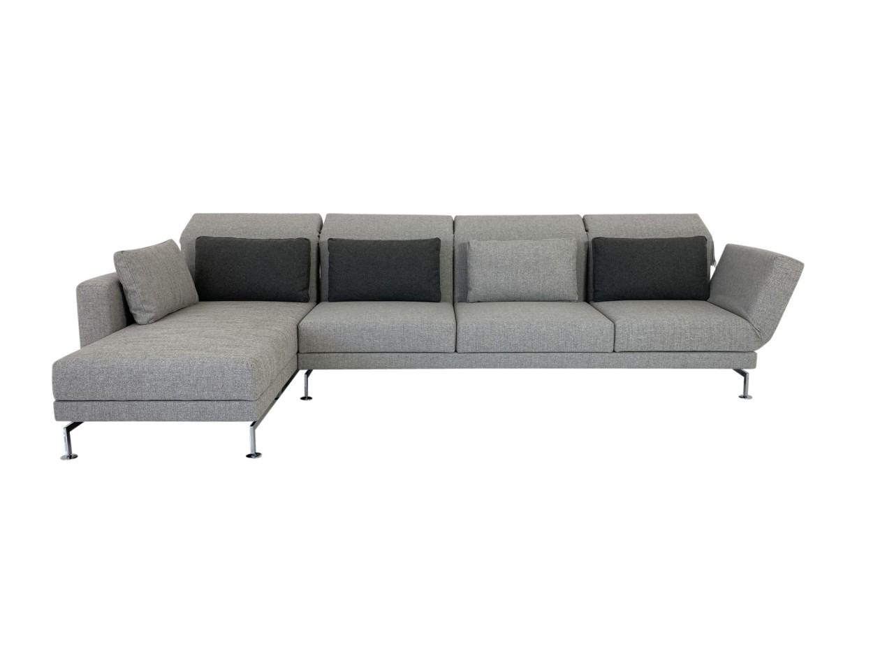 Brühl MOULE MEDIUM Sofa 3 mit Recamiere im graubeigen Stoff und Drehsitz rechts