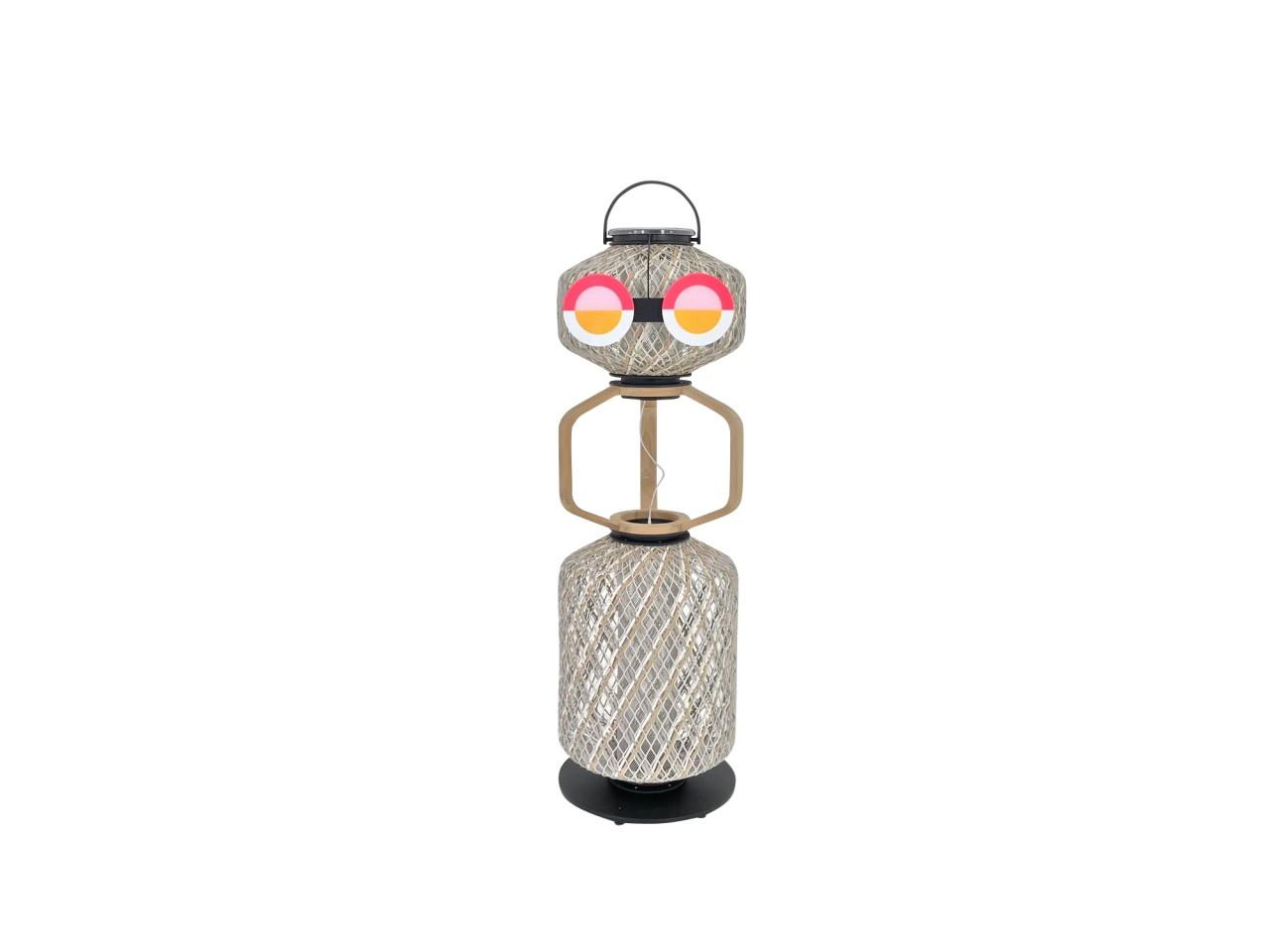 DEDON THE OTHERS Leuchte TOBO Outdoorlampe in cloud mit Teak Einsatz und Sunrise Brille