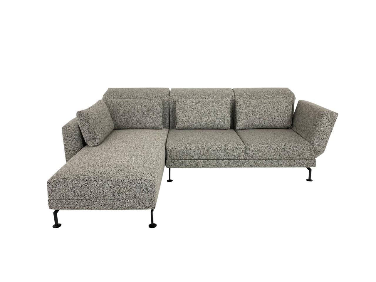 Brühl MOULE MEDIUM Sofa mit Recamiere links im edlen Boucle Stoff beige schwarz mit Kufen schwarz
