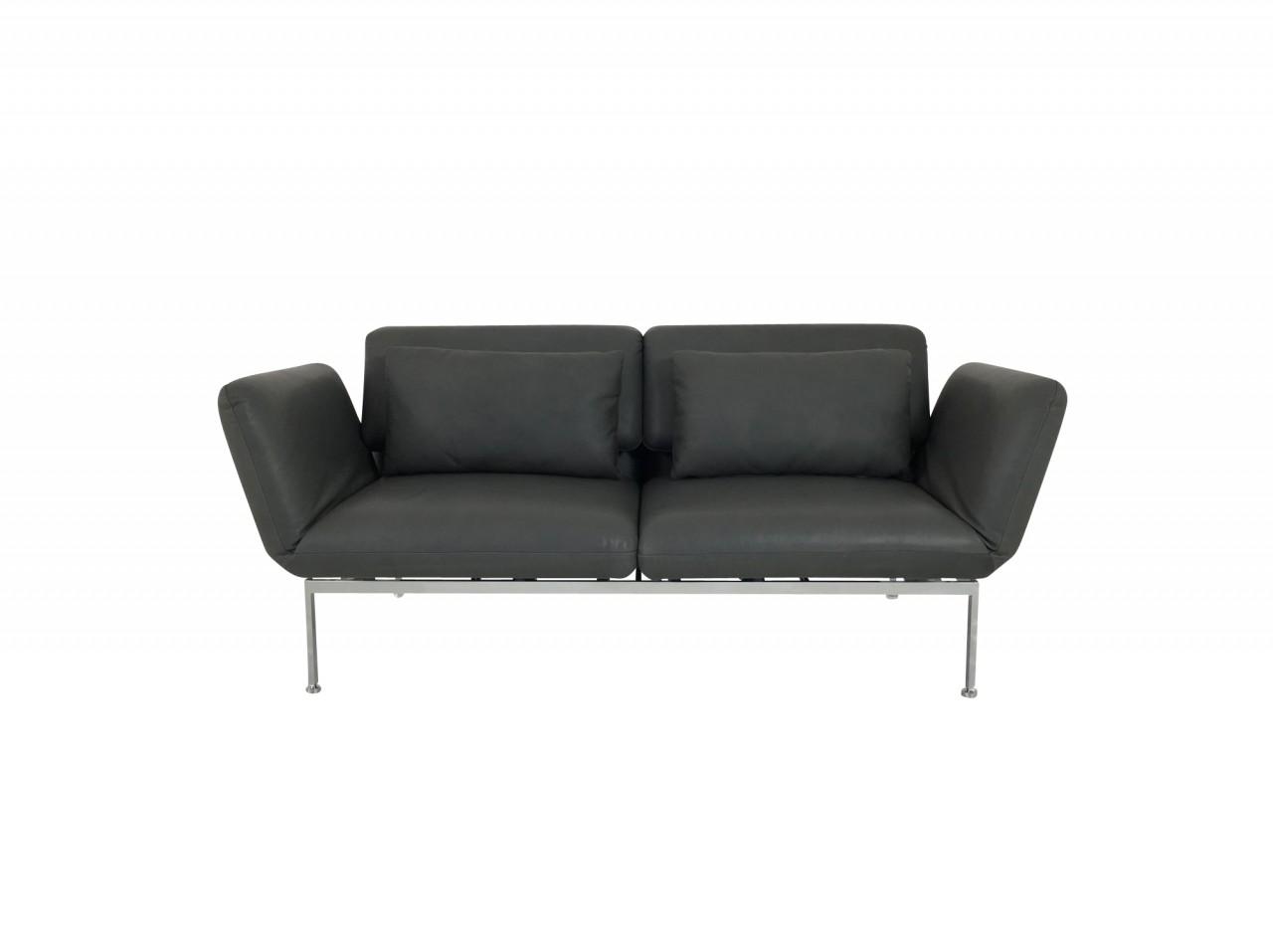br hl roro medium sofa im anilin leder pearl leder grau mit gestell mattchrom br hl roro. Black Bedroom Furniture Sets. Home Design Ideas